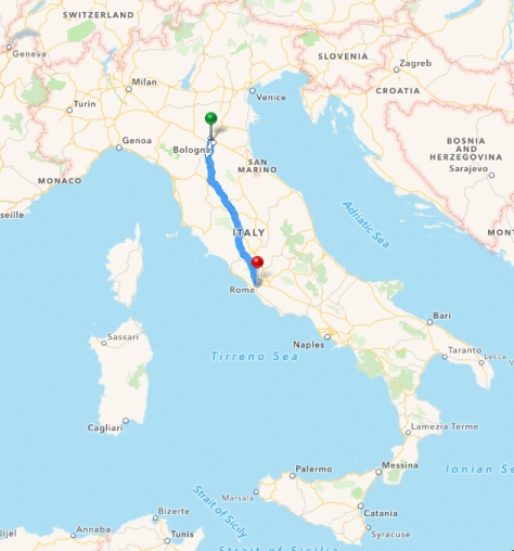 Italy Touring route