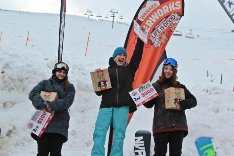 Winners of the Overall Women Category - 1st - Amber Schueker 2nd - Iwadare Kren 3rd - Adele Kren Wanaka Beerworks Treble Cone Banked Slalom