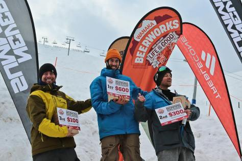 Winners of the Overall Men Category - 1st - Will Jackways 2nd - Deni Beavin 3rd - Richie Johnston Wanaka Beerworks Treble Cone Banked Slalom